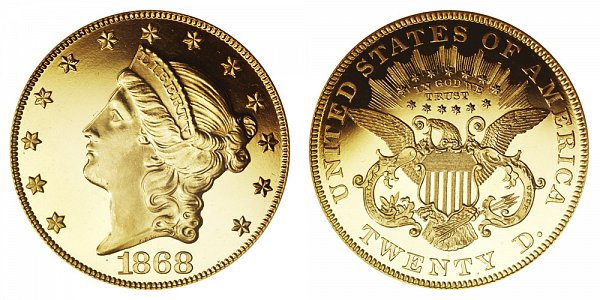 1868 Liberty Head $20 Gold Double Eagle - Twenty Dollars