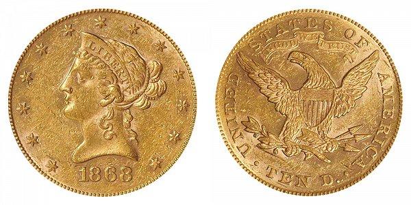 1868 Liberty Head $10 Gold Eagle - Ten Dollars