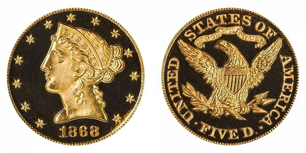 1868 Liberty Head $5 Gold Half Eagle - Five Dollars