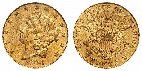 1868 S Liberty Head $20 Gold Double Eagle - Twenty Dollars