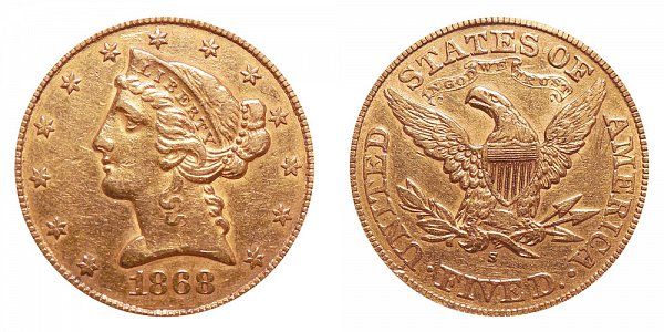 1868 S Liberty Head $5 Gold Half Eagle - Five Dollars
