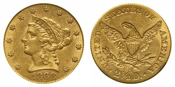 1868 S Liberty Head $2.50 Gold Quarter Eagle - 2 1/2 Dollars