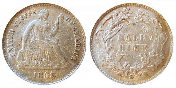 1868 S Seated Liberty Half Dime