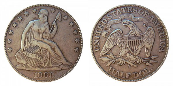 1868 S Seated Liberty Half Dollar