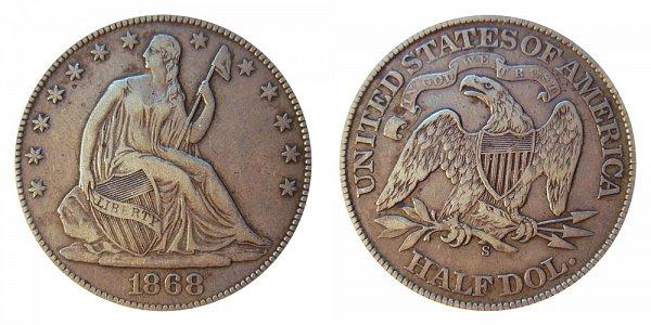 1868 S Seated Liberty Half Dollar