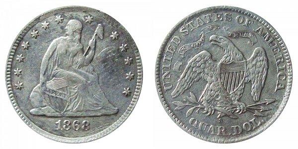 1868 S Seated Liberty Quarter