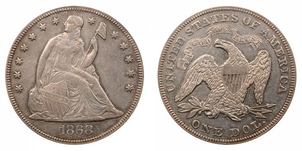 1868 Seated Liberty Silver Dollar