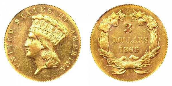 1869 Indian Princess Head $3 Gold Dollars - Three Dollars