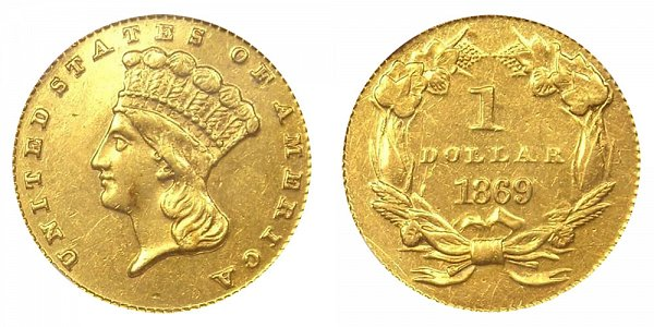 1869 Large Indian Princess Head Gold Dollar G$1
