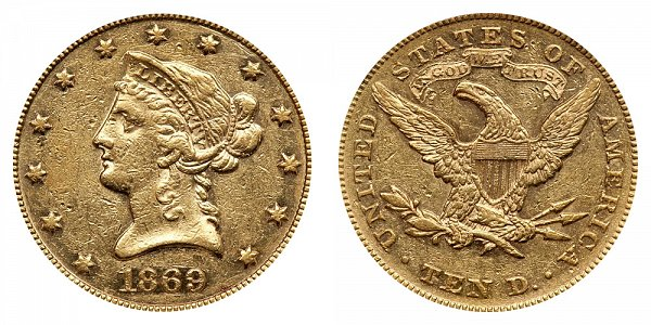 1869 Liberty Head $10 Gold Eagle - Ten Dollars