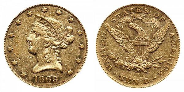 1869 Liberty Head $10 Gold Eagle - Ten Dollars