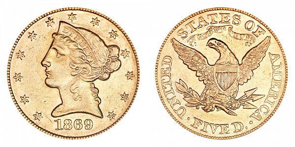1869 Liberty Head $5 Gold Half Eagle - Five Dollars