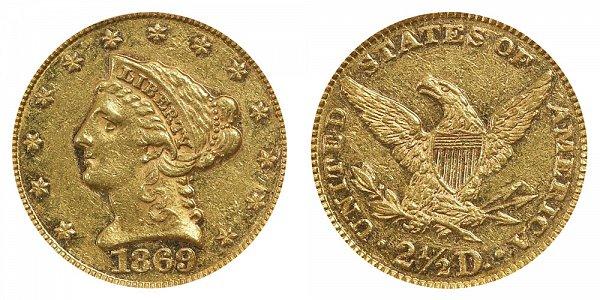 1869 Liberty Head $2.50 Gold Quarter Eagle - 2 1/2 Dollars