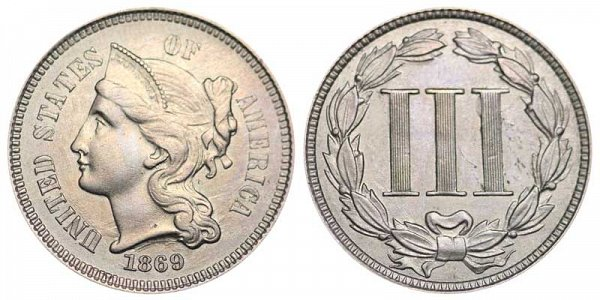 1869 Nickel Three Cent Piece