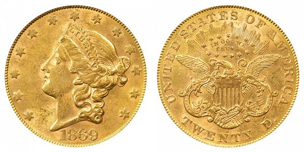 1869 S Liberty Head $20 Gold Double Eagle - Twenty Dollars