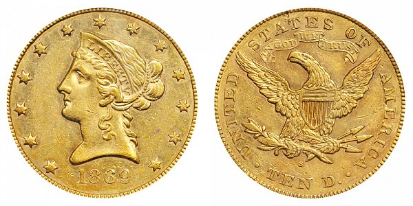 1869 S Liberty Head $10 Gold Eagle - Ten Dollars