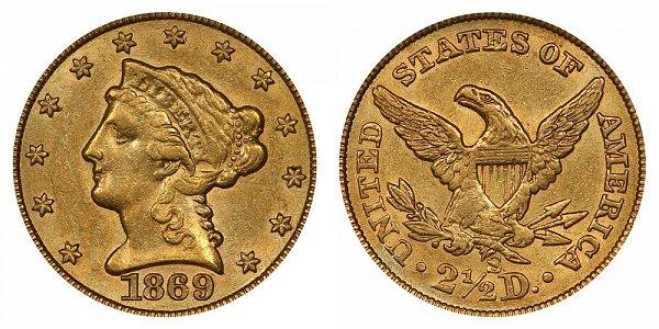 1869 S Liberty Head $2.50 Gold Quarter Eagle - 2 1/2 Dollars