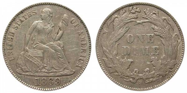 1869 S Seated Liberty Dime