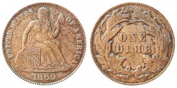 1869 Seated Liberty Dime