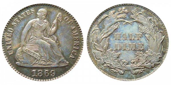 1869 Seated Liberty Half Dime