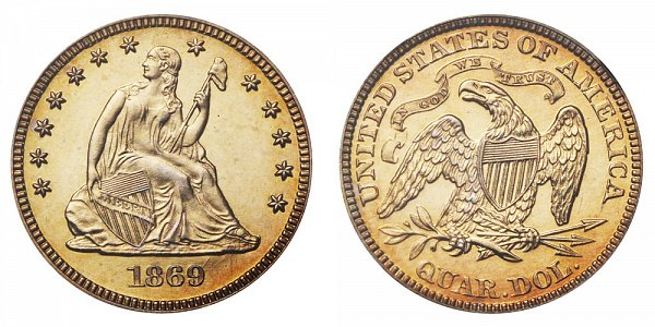 1869 Seated Liberty Quarter