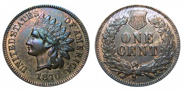 1870 Bold N Indian Head Cent Penny