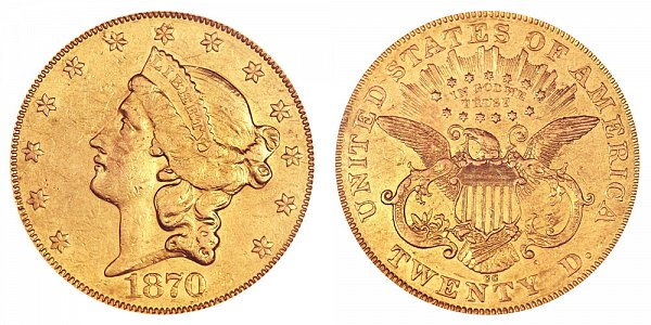 1870 CC Liberty Head $20 Gold Double Eagle - Twenty Dollars