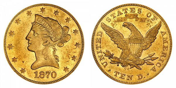 1870 CC Liberty Head $10 Gold Eagle - Ten Dollars