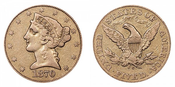 1870 CC Liberty Head $5 Gold Half Eagle - Five Dollars