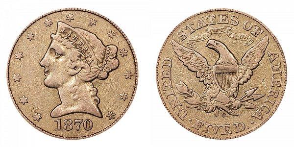 1870 CC Liberty Head $5 Gold Half Eagle - Five Dollars
