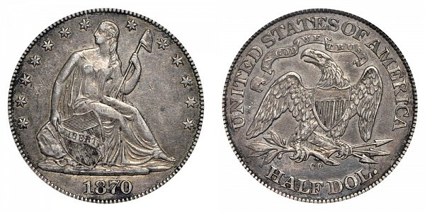 1870 CC Seated Liberty Half Dollar