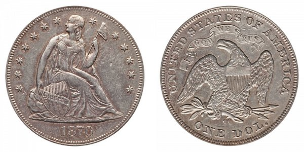 1870 CC Seated Liberty Silver Dollar