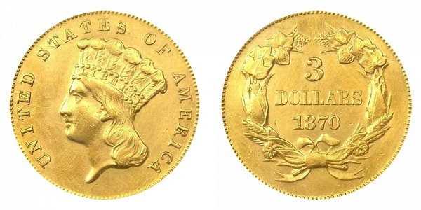1870 Indian Princess Head $3 Gold Dollars - Three Dollars
