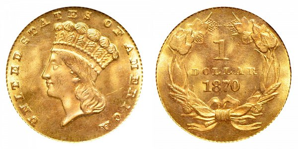 1870 Large Indian Princess Head Gold Dollar G$1