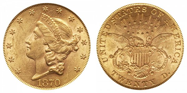1870 Liberty Head $20 Gold Double Eagle - Twenty Dollars