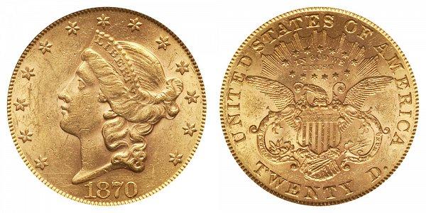 1870 Liberty Head $20 Gold Double Eagle - Twenty Dollars