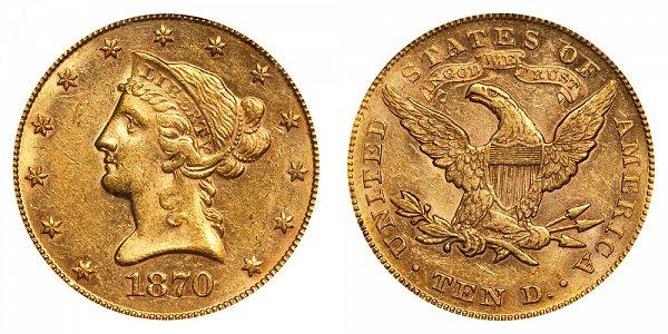 1870 Liberty Head $10 Gold Eagle - Ten Dollars