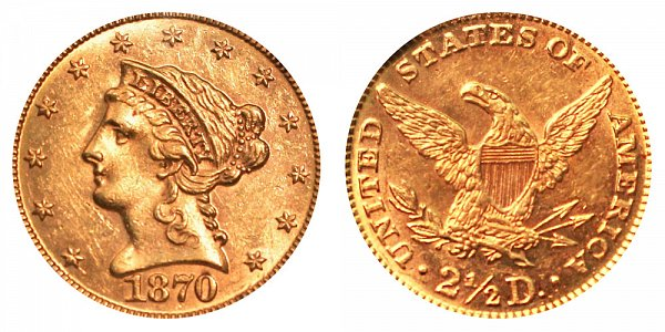 1870 Liberty Head $2.50 Gold Quarter Eagle - 2 1/2 Dollars