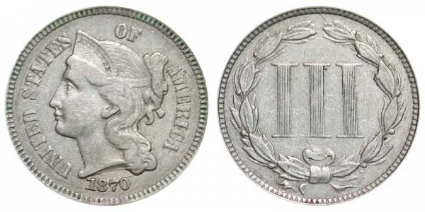 1870 Nickel Three Cent Piece