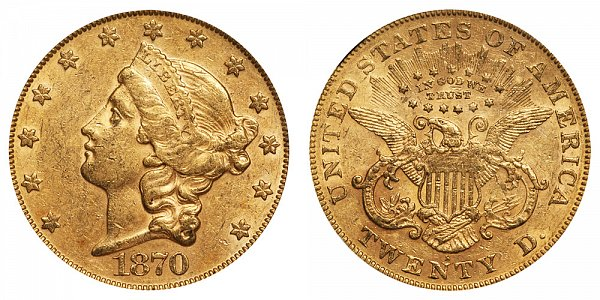 1870 S Liberty Head $20 Gold Double Eagle - Twenty Dollars