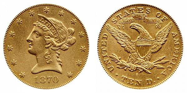1870 S Liberty Head $10 Gold Eagle - Ten Dollars