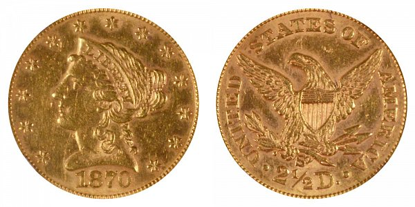 1870 S Liberty Head $2.50 Gold Quarter Eagle - 2 1/2 Dollars