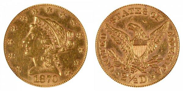 1870 S Liberty Head $2.50 Gold Quarter Eagle - 2 1/2 Dollars