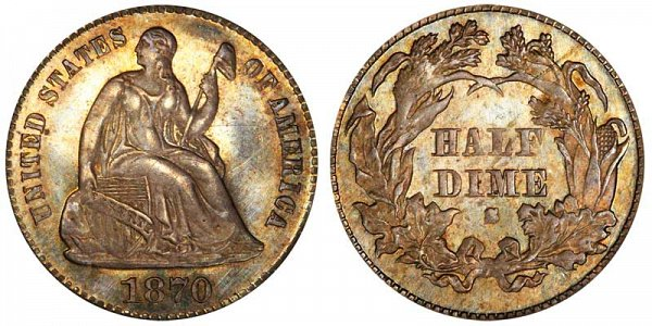 1870 S Seated Liberty Half Dime