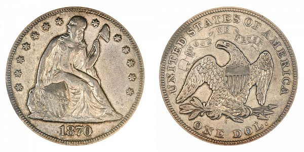 1870 S Seated Liberty Silver Dollar