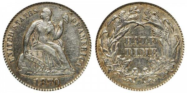 1870 Seated Liberty Half Dime