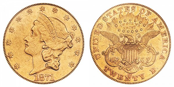 1871 CC Liberty Head $20 Gold Double Eagle - Twenty Dollars