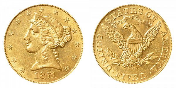 1871 CC Liberty Head $5 Gold Half Eagle - Five Dollars