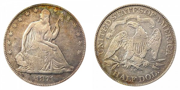 1871 CC Seated Liberty Half Dollar