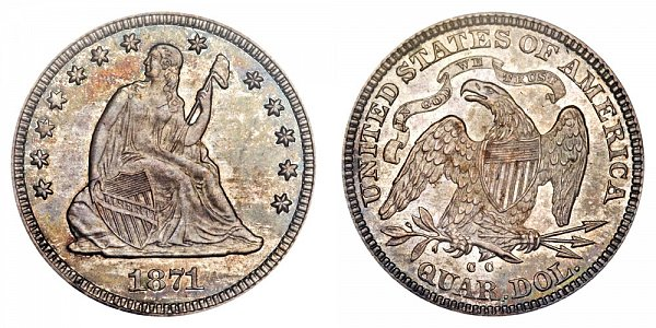 1871 CC Seated Liberty Quarter